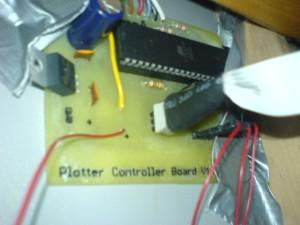 Unser selbstgeätztes Cotnrollerboard für den Plotter. Wurde schon mit dem Plotter gemacht, allerdings hing er da noch an einem Dev-Board.