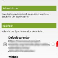 Welche Kalender sollen synchronisiert werden? (Tasks befinden sich im Default)