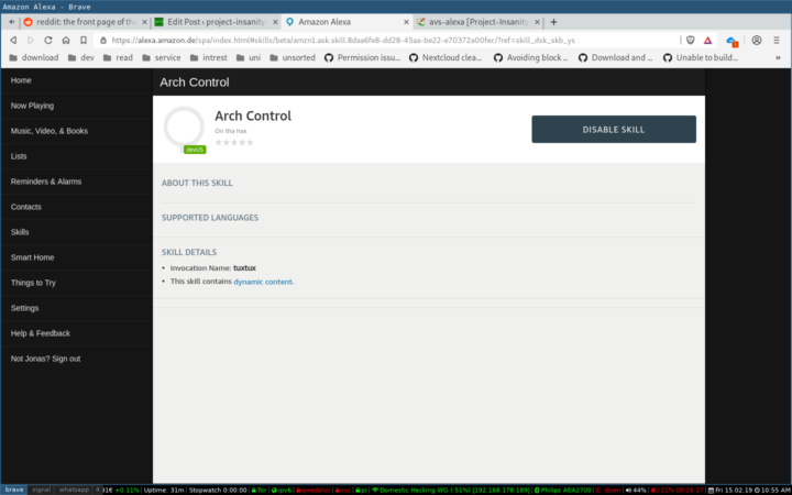 Voice control Archlinux with Amazon Alexa – project-insanity org